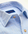 DAVID DONAHUE - (3640428) - Blue & Tan Plaid Sport Shirt - (Blue)
