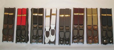 Buttoned Suspenders with Leather Straps - Big (X-Long)