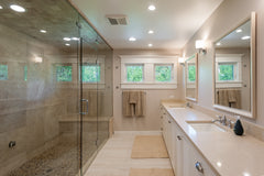 Transitional interior design master bathroom bright combination of modern and traditional marble shower bathtub vanity south florida boca raton