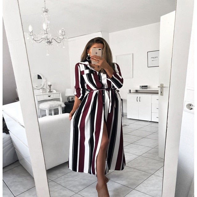 BOSS-IE 2020 Stripe Long Maxi Dress