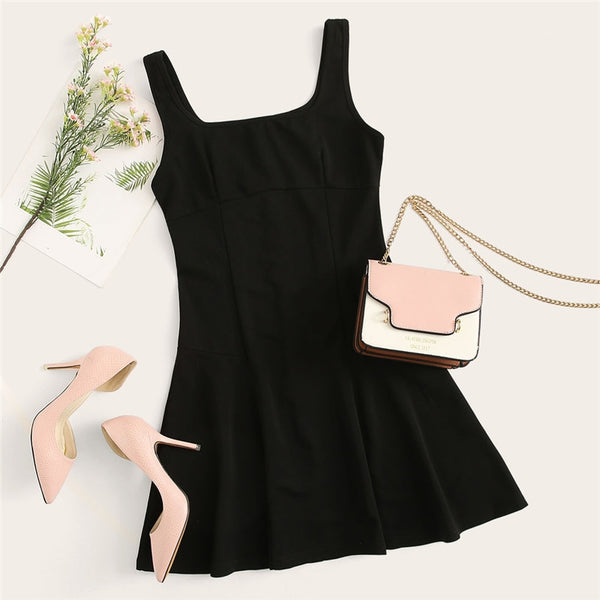 BOSS-IE Solid Color Fit And Flare Elegant Sleeveless Dress