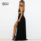 QILI Black Red Lace Long Maxi Dress Women Backless Split Sexy Party Club Dresses Elegant Ladies Back Cross Dress Female Robe
