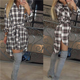 Women Autumn Plaid Dress V-neck Long Sleeve Skirt/Shirt