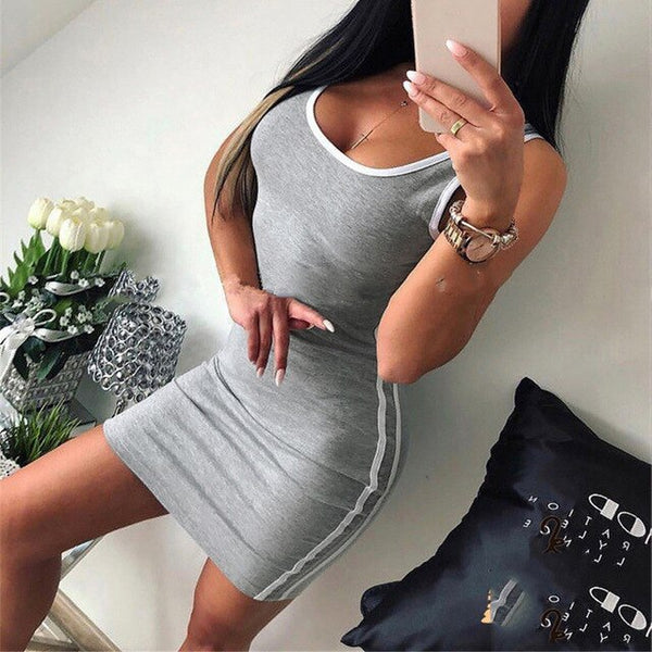 BOSS-IE 2020 NEW Sporty Sexy Fit Body-Con White Double Stripped Solid Color Skirt