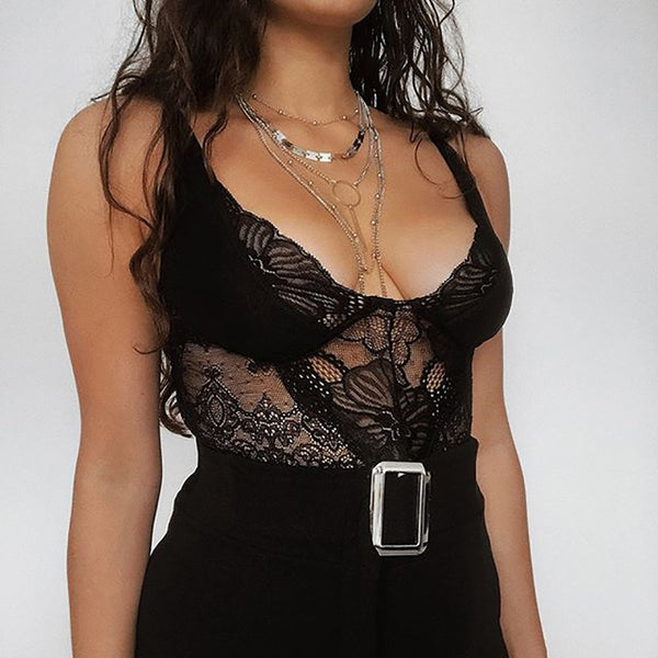 2020 BOSS-IE Sexy Womens Lace Deep-V Bodysuit