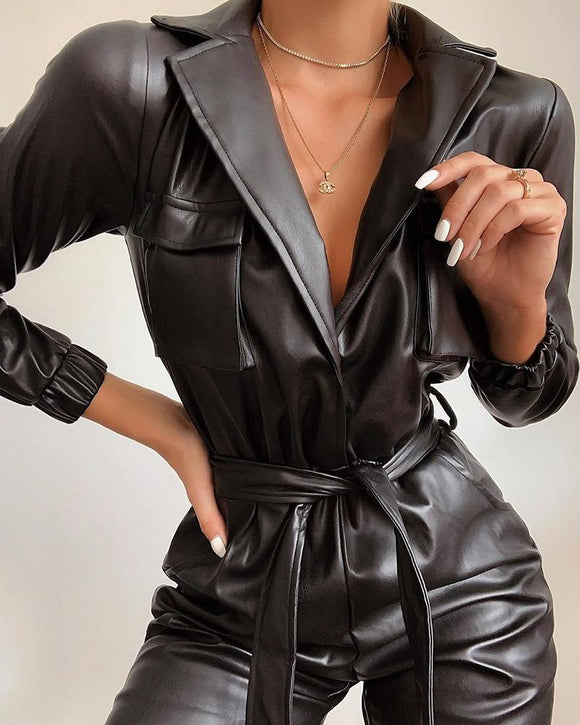 BOSS-IE 2020 NEW Sexy Tie Waist Faux Leather Romper Jumpsuit