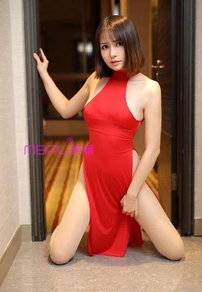 Sexy Women Dual Use Milk Ice Silk Smooth Elastic Nightclub High Cut Dress Turtleneck See Through Club Dance Wear F26