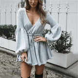 New Women V Neck Ruffle knitted Sweater Dress