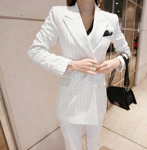 BOSS-IE New Casual Business Professional Pinstripped Office Pants Suit