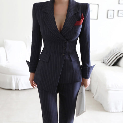 BOSS-IE Women Pin Stripped 2 Piece Pant Business Suits