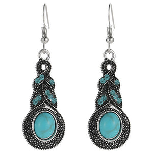 Silver/Turquoise Pendant Earrings Natural Stone
