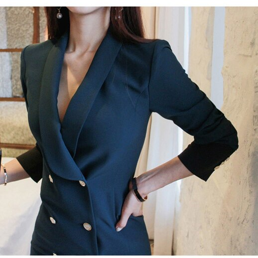 2019 NEW Women Solid High Waisted Blazer Mini Dress D8D411I