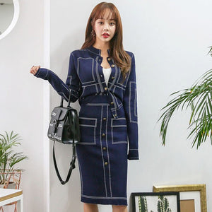 Professional Elegant Blue Casual Office Suit