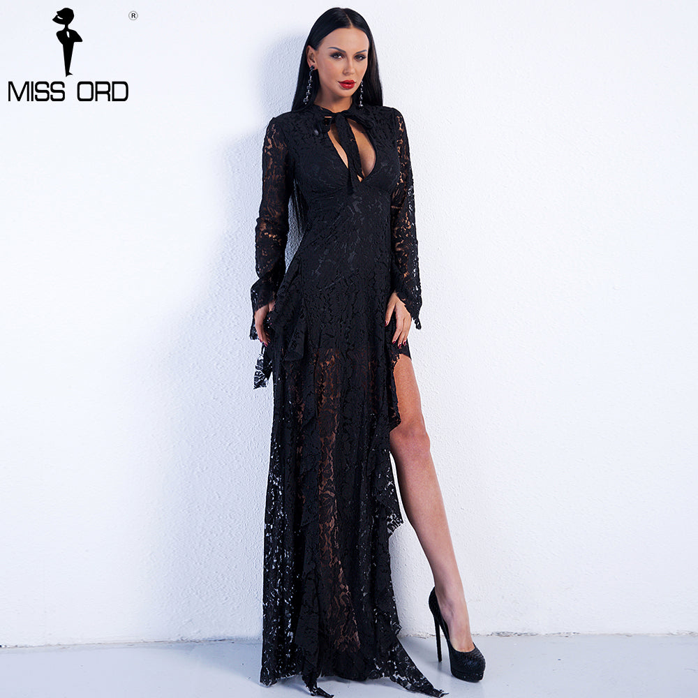 2019 Sexy  Long Sleeve  High Split Lace Elegant Dress FT8754-1
