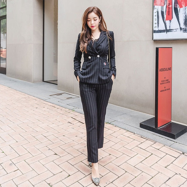BOSS-IE 2020 Long Sleeve Pin Stripe Women Pants Suit