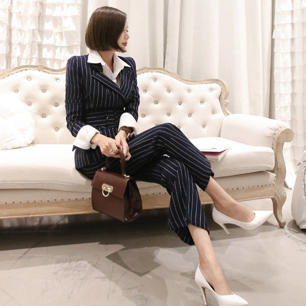 BOSS-IE Pin Striped Women 2 Piece Business Pant Suit