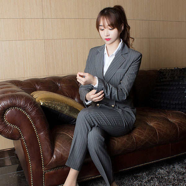 BOSS-IE Work Business Pin Striped Women Suits 2 Pieces Pant Set