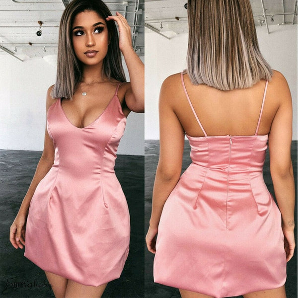 BOSS-IE 2020 Women Solid Silk Satin Bodycon Slip