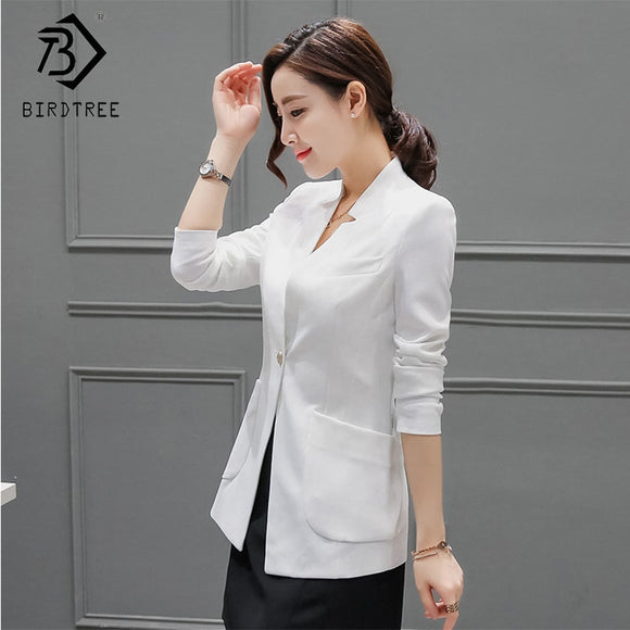 Women Solid Long Sleeve Blazer