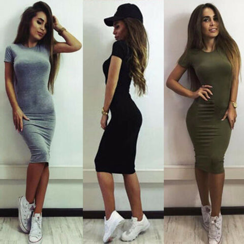 2019 Sexy Ladies Womens Short Sleeve Bodycon Short Dress Party Summer Casual Dress