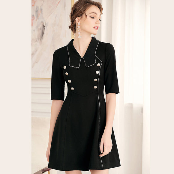 2019 New Spring Summer Half Sleeve Line Split Dress  JS806