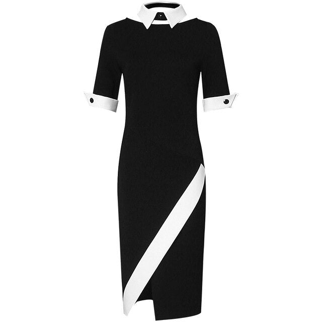 2019 New Spring Summer Black White Stripe Suit Dress