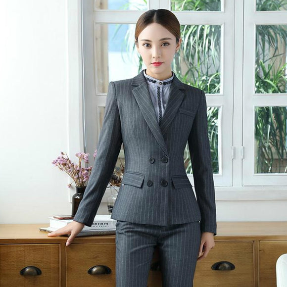 New 2020 Two Piece Solid Pin Stripe Office Pant Suit