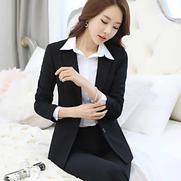 BOSS-IE Women  Solid 2 Piece Pant Business Suit