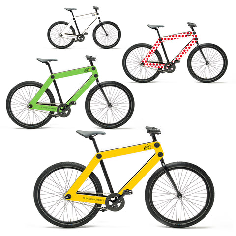 Colored Sandwichbikes frames. Customization is possible for Sandwichbikes Steel Fork series as well as Wooden Fork series