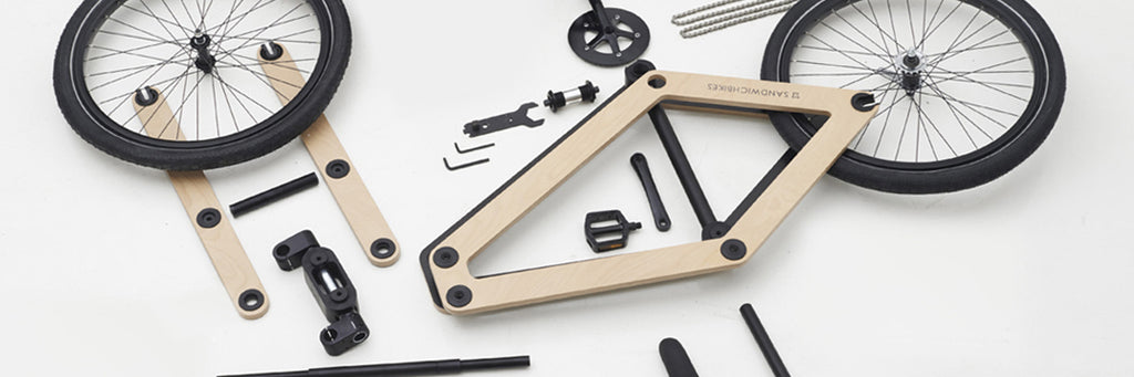 DIY Sandwichbikes. The wooden frame and aluminium cilinders are easy to assemble yourself