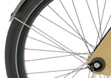 Sandwichbikes Wooden Fork series with aluminium mudguards, rear wheel close-up