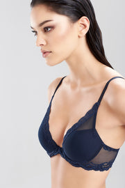 Natori Feathers Lace Contour Plunge Bra - Midnight Blue