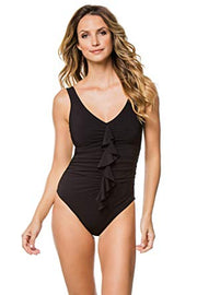Karla Colletto Draped Flounce  V-Neck One Piece
