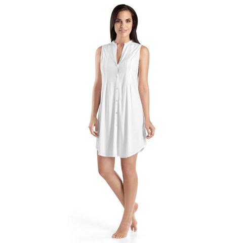 Hanro Cotton Deluxe Button Front Tank Gown