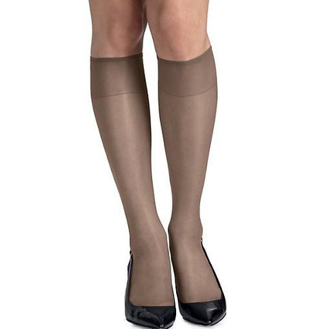 Hanes Hosiery Silk Reflections Knee Highs Reinforced Toe, 2 per pack