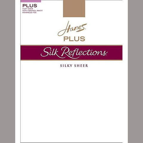 Hanes Silk Reflections Plus Sheer Non-Control Top Enhanced Toe Pantyhose