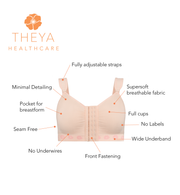Theya Healthcare Peony Front Fastening Post Surgery Comfort Bra with Light Support