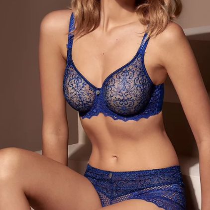 Cassiopee Seamless Embroidery Underwire Bra - Bleu Caraibes