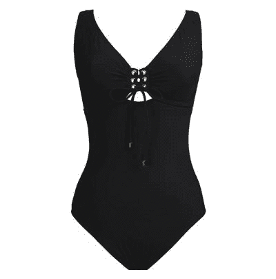 Karla Colletto Basic One Piece V-Neck Lace-up Tank