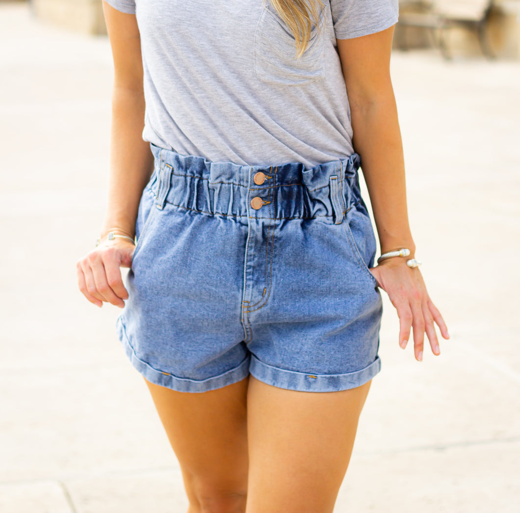 Paper Bag Denim Shorts