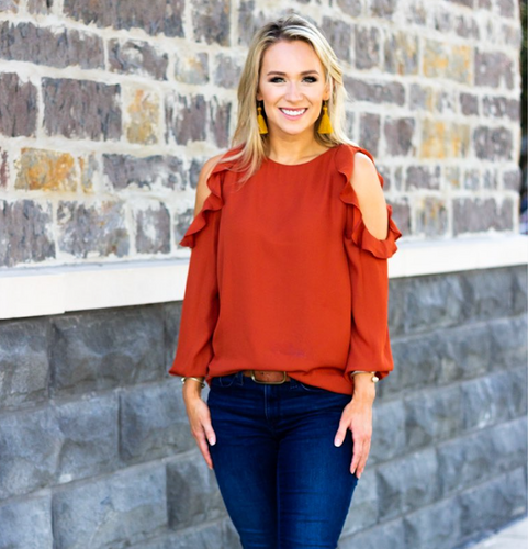 Ruffled Cold-Shoulder Blouse