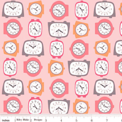 "RILEY BLAKE ""GRACIE GIRLS"" GRACIE CLOCKS Pink by 1/2 yard"