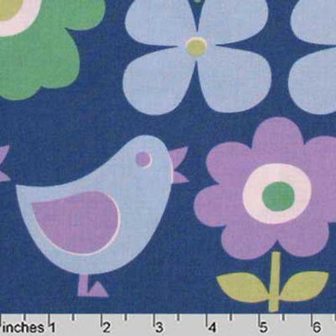 "KOKKA ""TREFLE"" BIRDS & FLOWERS Blue by 1/2 yard"