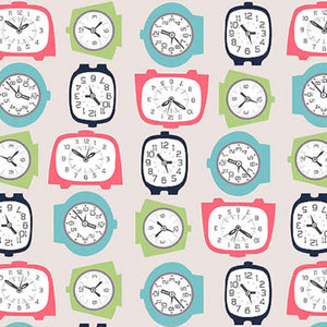 "RILEY BLAKE ""GRACIE GIRLS"" GRACIE CLOCKS Gray by 1/2 yard"