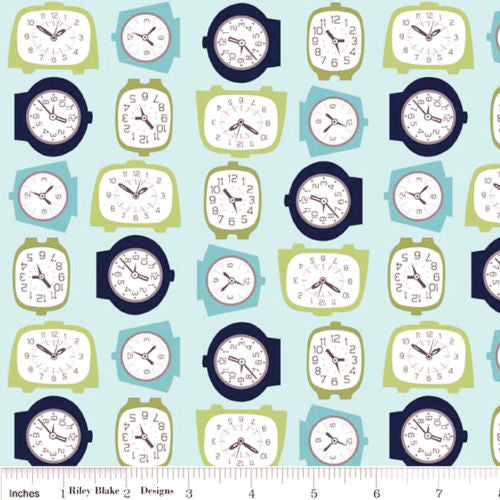 "RILEY BLAKE ""GRACIE GIRLS"" GRACIE CLOCKS Blue 1 yard 29 inches"