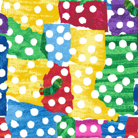"ANDOVER ""THE VERY HUNGRY CATERPILLAR"" WHITE DOTS Multi BY 1/2 YARD"