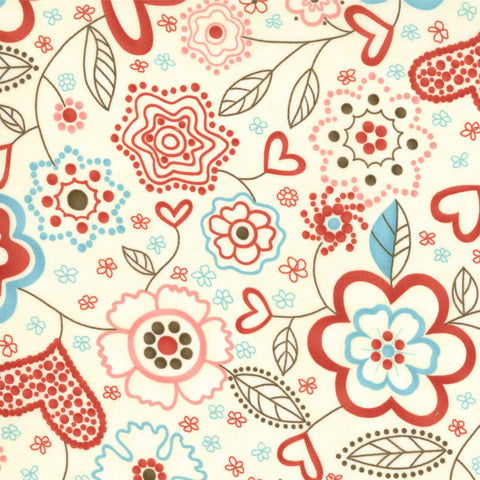 "MODA ""GIDDY"" HEARTS FLOWERS Whip Cream by 1/2 yard"