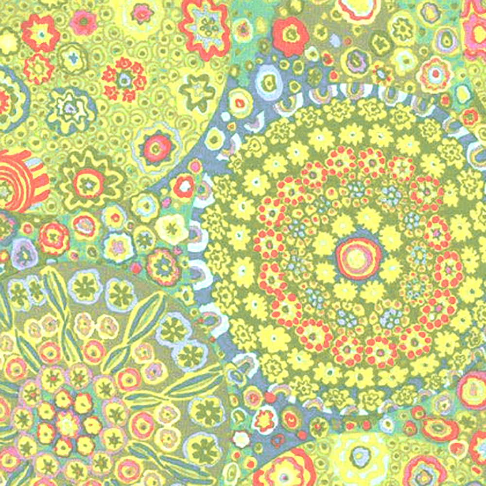 "KAFFE FASSETT ""MILLEFIORE"" GP92 GREEN  by the 1/2 yard"