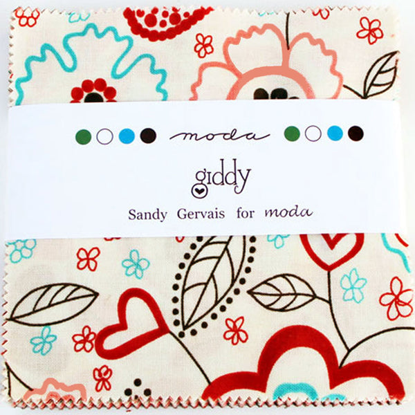 "MODA ""GIDDY"" CHARM PACK 5"" SQUARES 42 pc"