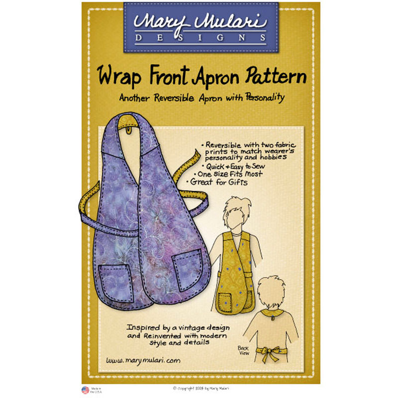 "MARY MULARI DESIGNS ""WRAP FRONT APRON"" Sewing Pattern"